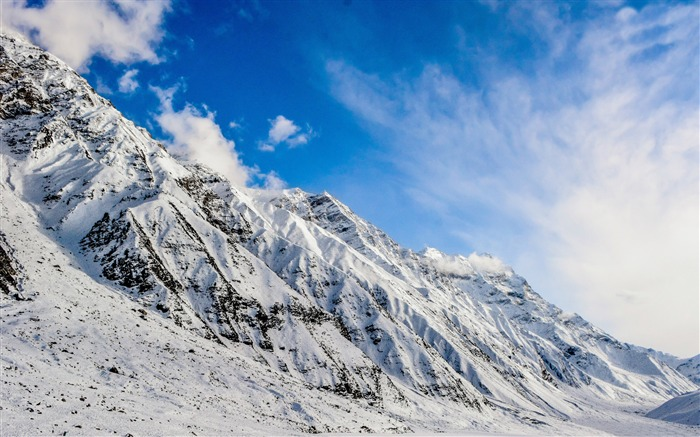 Mountain snow blue sky-Scenery High Quality Wallpaper