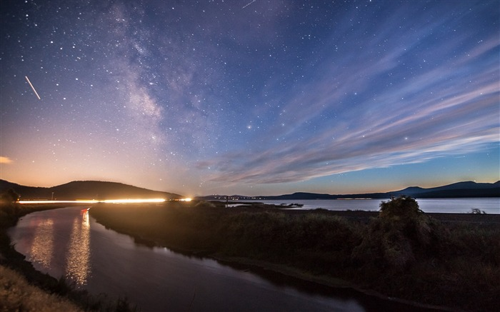Twilight River Star Sky-Scenery High Quality Wallpaper Views:552