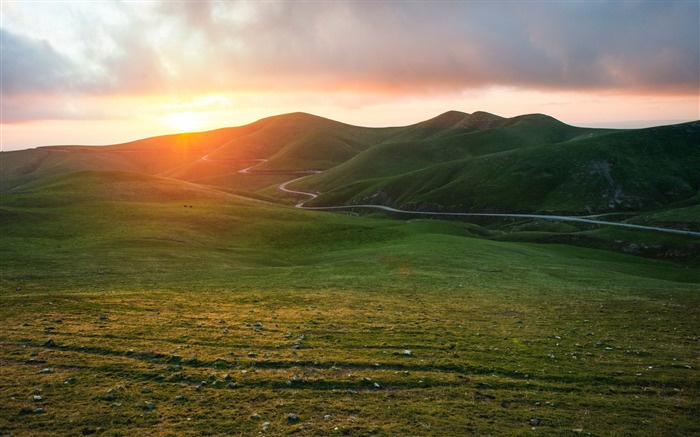 Valley grass sunset-Scenery High Quality Wallpaper Views:340