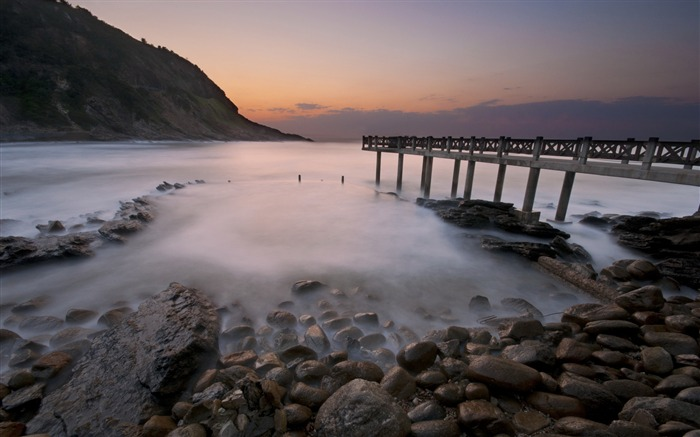 Beach concrete bridge-Nature landscape wallpaper