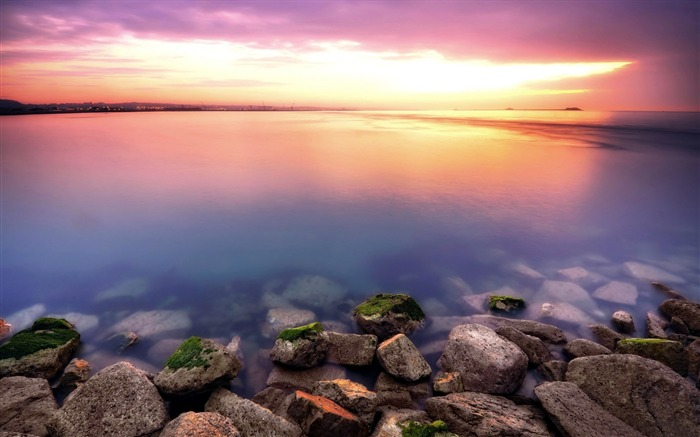 Beautiful sunset beach stone-Nature landscape wallpaper