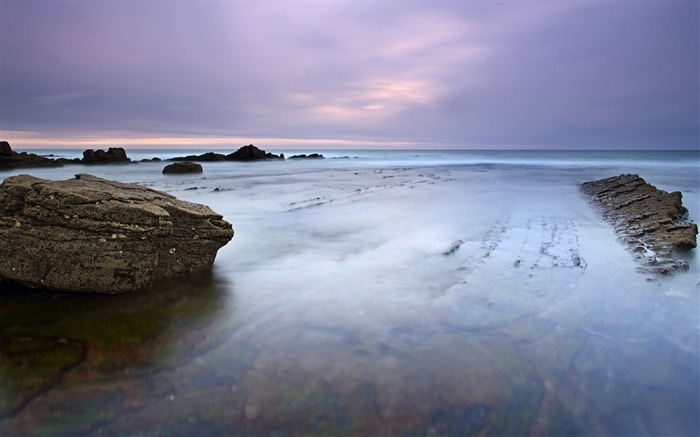 Cloudy day and sea rocks-Nature landscape wallpaper