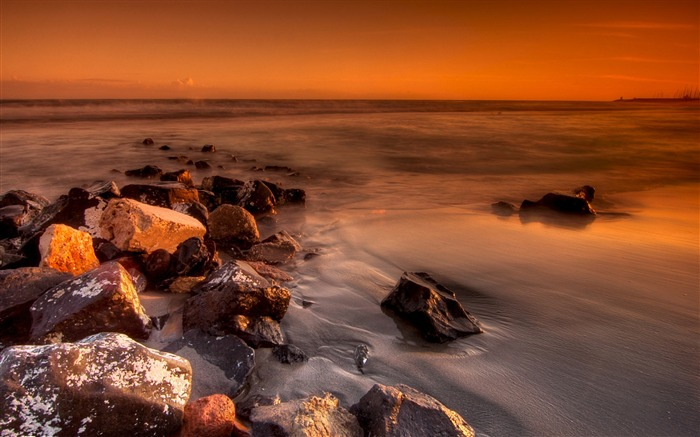 Evening Orange Beach Rocks-Nature landscape wallpaper