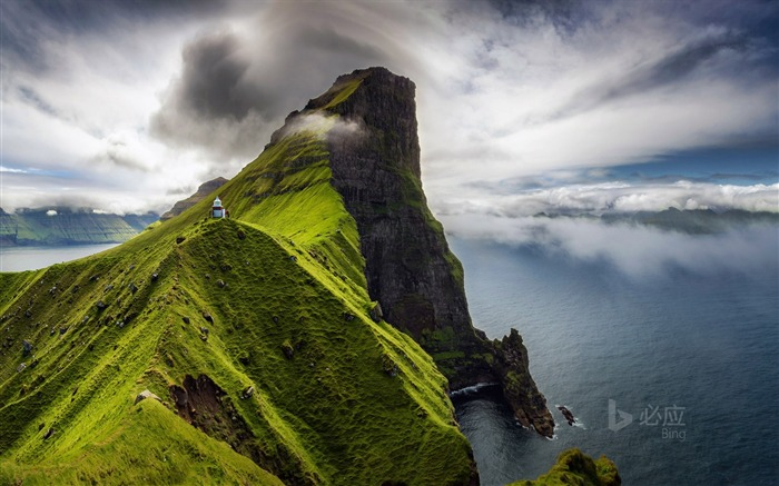 Faroe Islands Kallur lighthouse on Kalsoy Island-2017 Bing Desktop Wallpaper