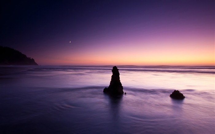 Purple evening on the beach-Nature landscape wallpaper Views:647