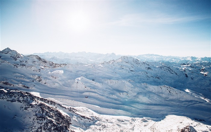 Aerial snow capped mountains-Scenery High Quality Wallpaper