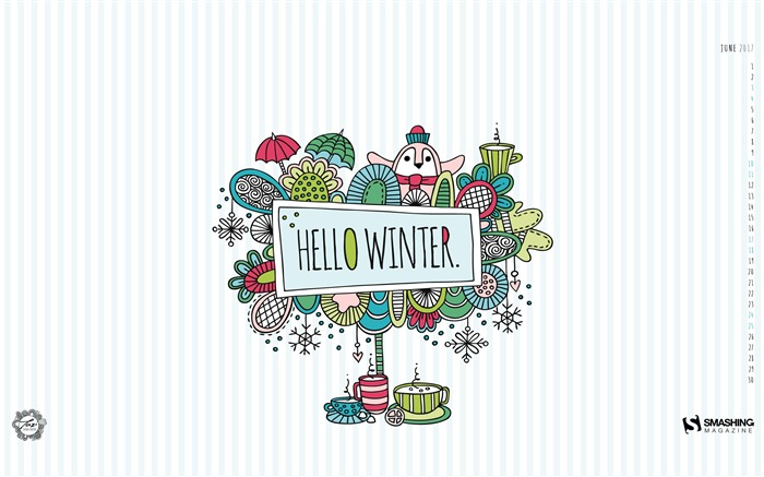 Hello Winter-June 2017 Calendar Wallpaper