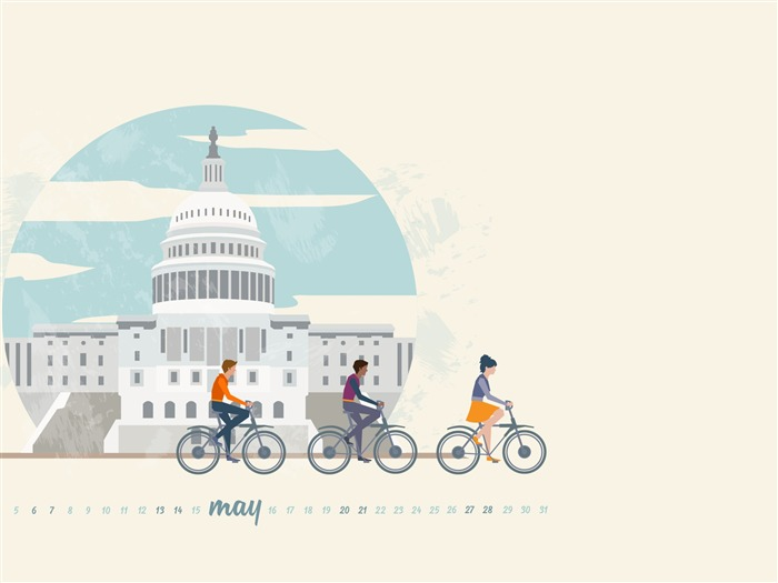 May Is For Biking-May 2017 Calendar Wallpaper Views:1260