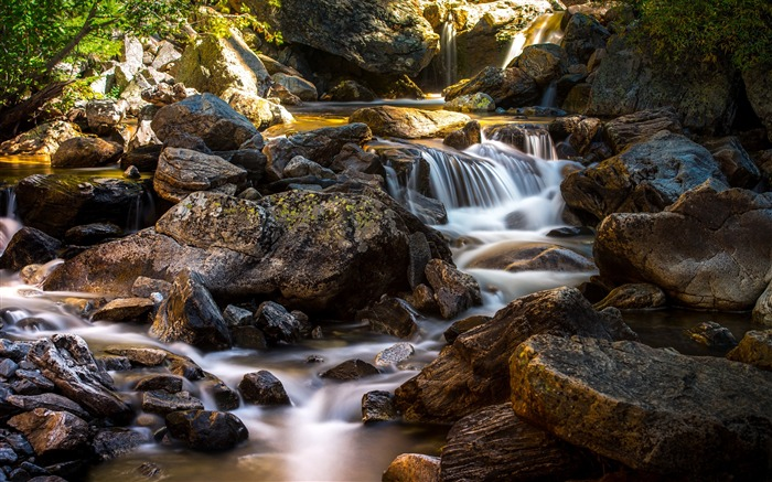 Stream flowing through rocks-Scenery High Quality Wallpaper Views:857