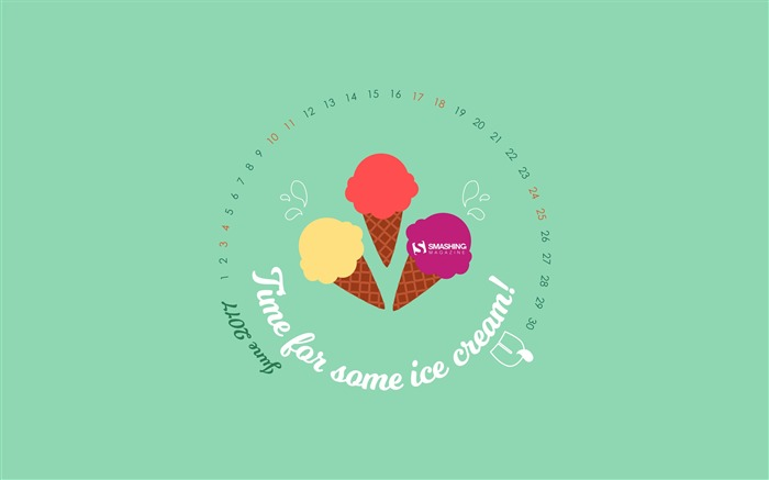 Time For Some Ice Cream-June 2017 Calendar Wallpaper Views:546