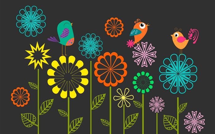 Colorful vector flowers birds-High Quality Wallpaper Views:868