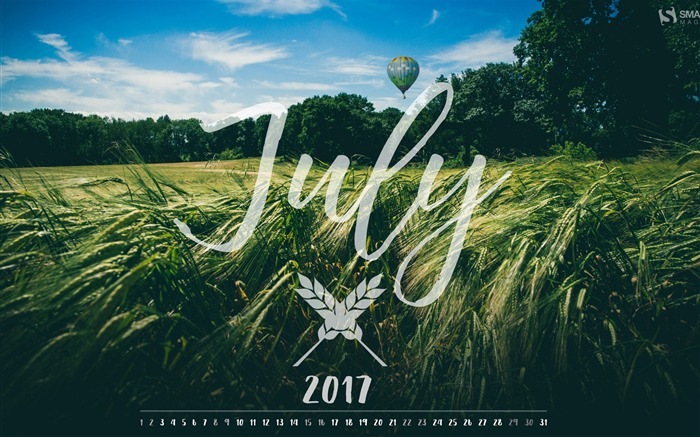 Green Wheat Field-July 2017 Calendar Wallpaper Views:1121