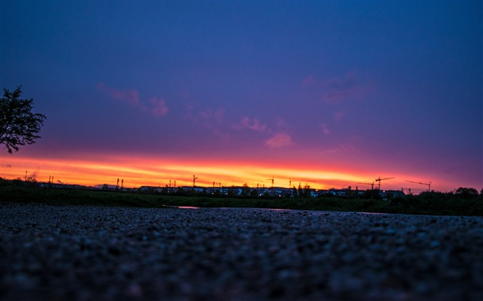Night sky sunset road-High Quality Wallpaper Views:869