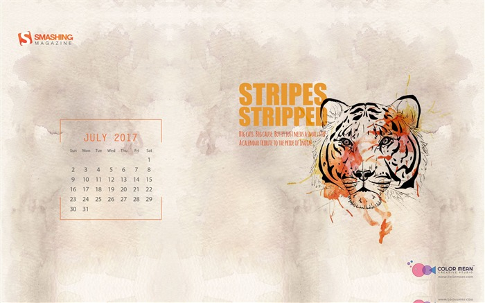 Stripes Stripped-July 2017 Calendar Wallpaper Views:472