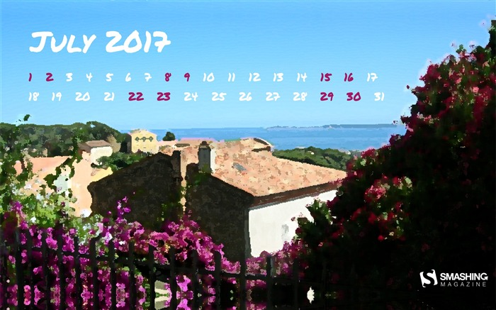 The Sunny South-July 2017 Calendar Wallpaper Views:863