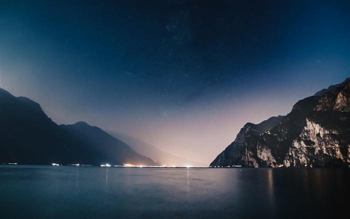 Mountains night sea-2017 Nature HD Wallpaper