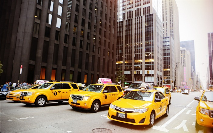 New york street cabs taxis-Life HD Wallpaper