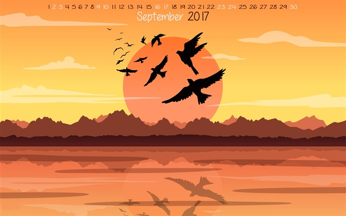 Summer Is Leaving-September 2017 Calendar Wallpaper Views:883