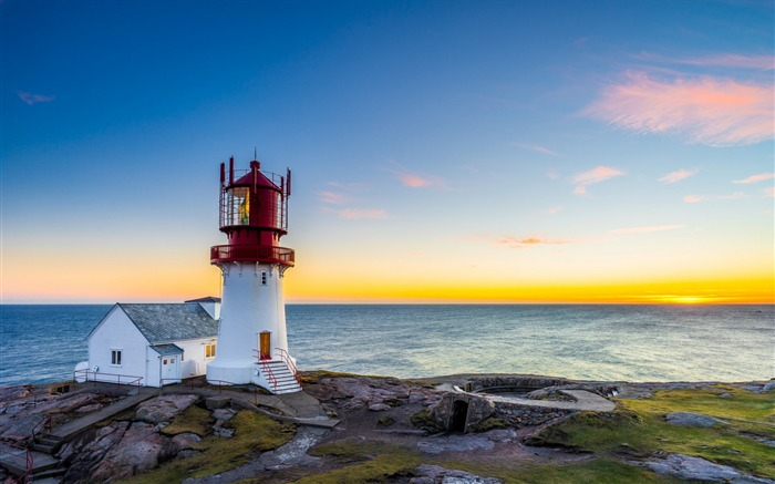 Sunset sea lighthouse norway lindesnes-Scenery HD Wallpaper Views:399