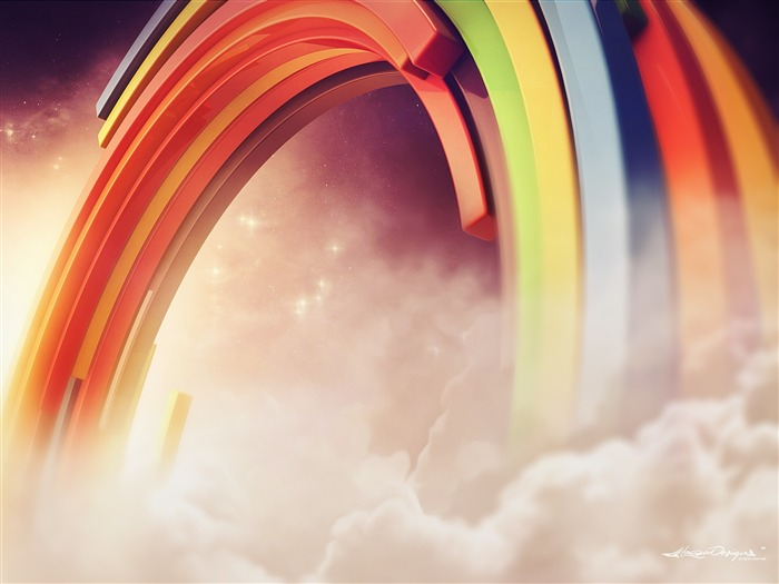 3D Colorful Rainbow Clouds-Vector HD Wallpaper Views:565