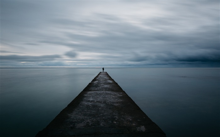 Breakwater pier man sea loneliness-High Quality Wallpaper Views:410