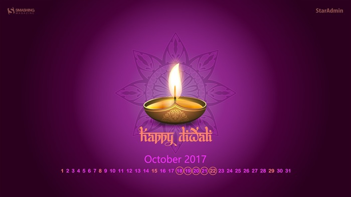 Happy Diwali-October 2017 Calendar Wallpaper Views:585