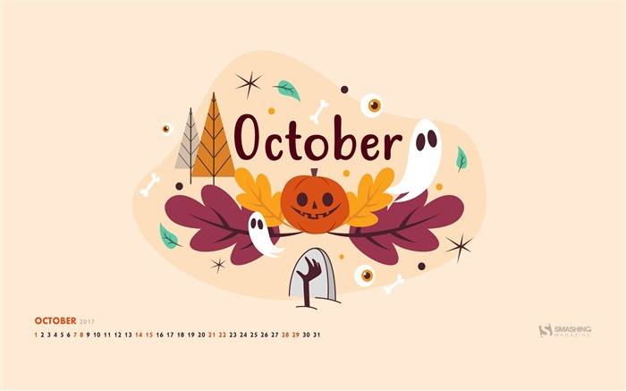 October 2017 Calendar Desktop Themes Wallpaper Views:2552