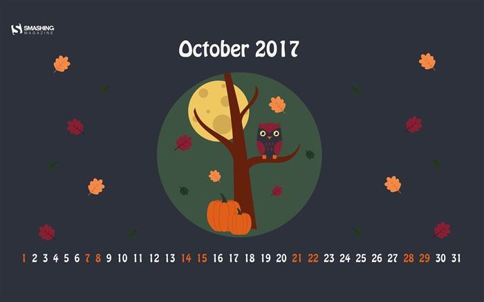 Hello Pumpkin-October 2017 Calendar Wallpaper Views:510