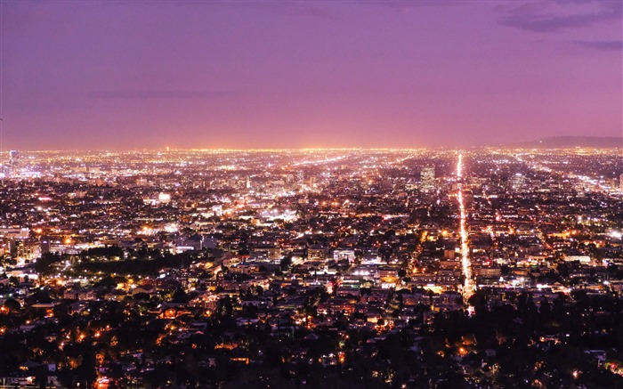 Los angeles usa panorama night-Villes Fond d'écran HD Vues:1101