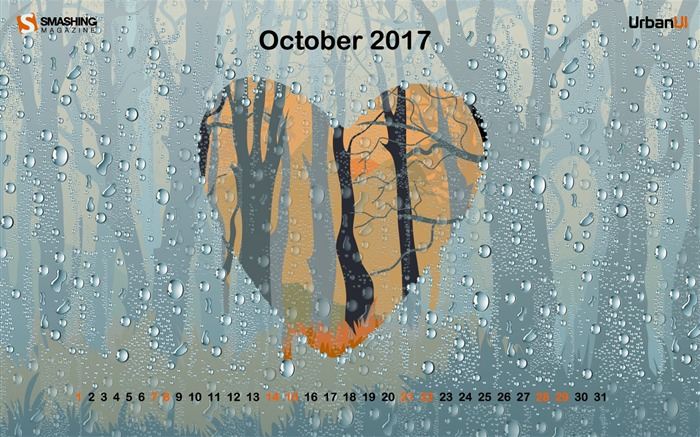 Rainy Romance-October 2017 Calendar Wallpaper Views:259