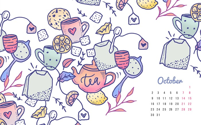 Tea And Cookies-October 2017 Calendar Wallpaper Views:429