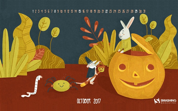 Trick Or Treat-October 2017 Calendar Wallpaper Views:468