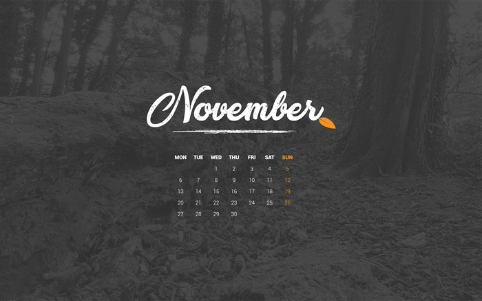 Autumn In November November 2017 Calendar Wallpaper Views:826
