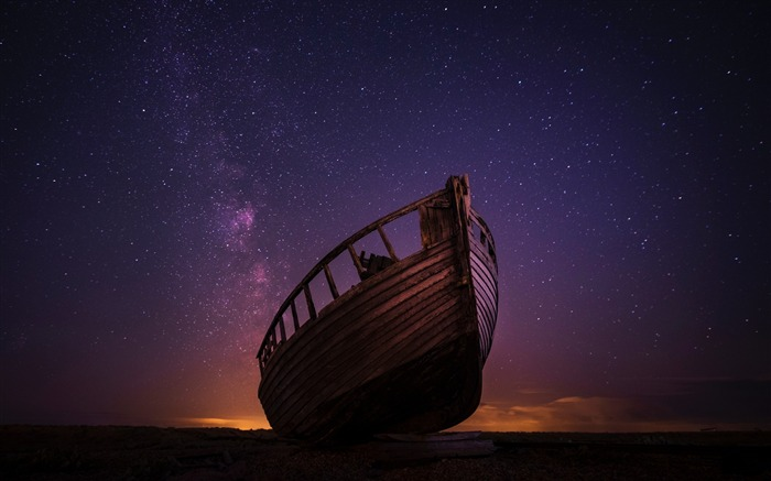 Boat starry sky night-2017 High Quality Wallpaper Views:425