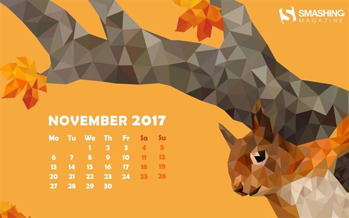 Curious Squirrel November 2017 Calendar Wallpaper Views:690