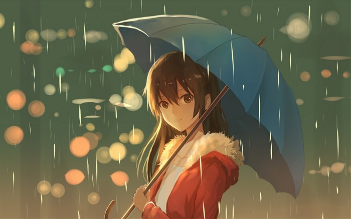 Girl umbrella rain art 2017 Anime Wallpaper