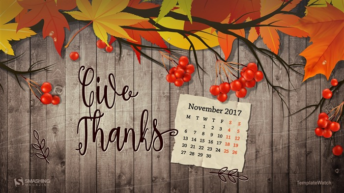 Give Thanks November 2017 Calendar Wallpaper Views:628