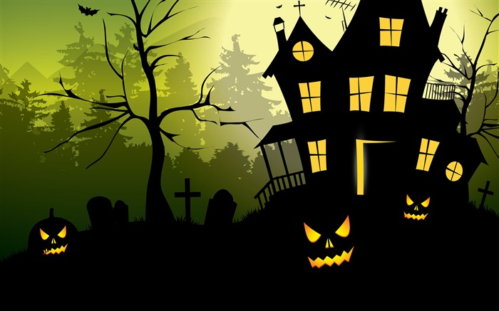 Halloween scary house green 2017 HD Wallpaper Views:765