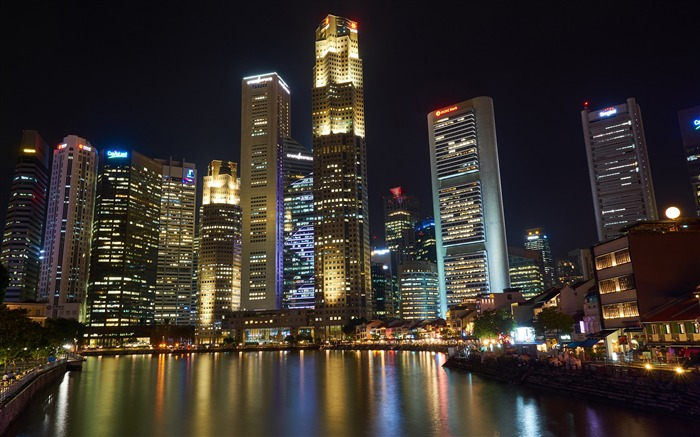 Luxury night river skyline skyscrapers HD Photo Wallpaper Views:433