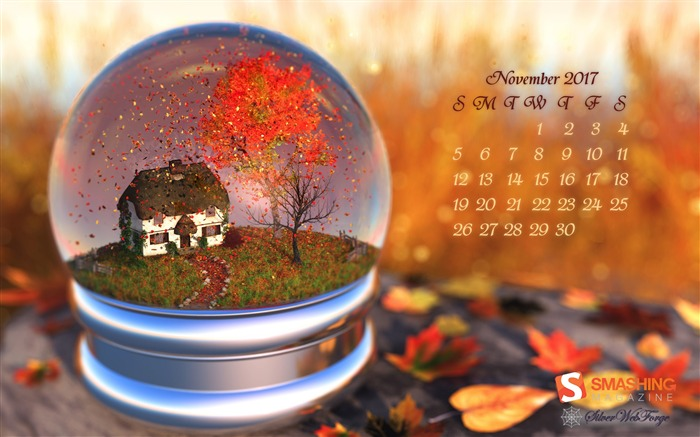 Maple Leaf Globe November 2017 Calendar Wallpaper Views:708