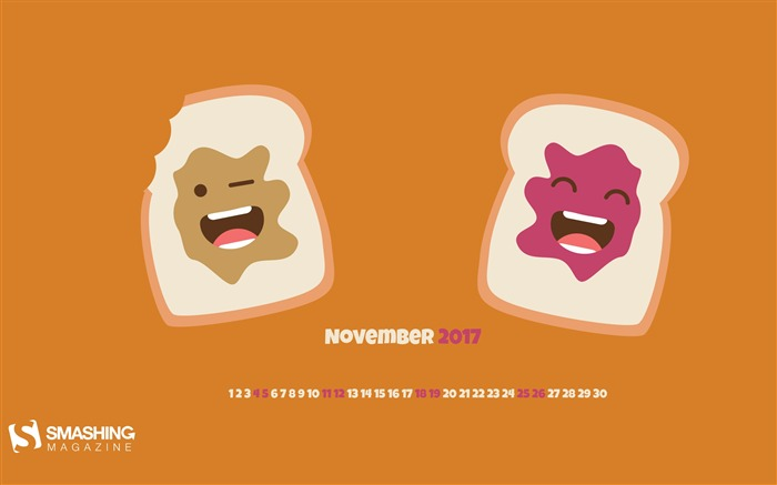 Peanut Butter Jelly Time November 2017 Calendar Wallpaper Views:499