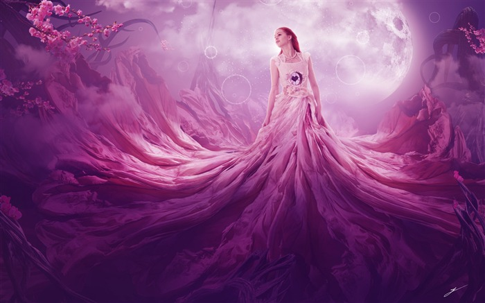 Pink fantasy girl High Quality Wallpaper Views:481