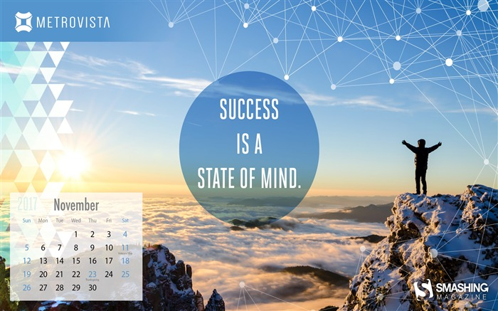 Success Is A State Of Mind November 2017 Calendar Wallpaper Views:345