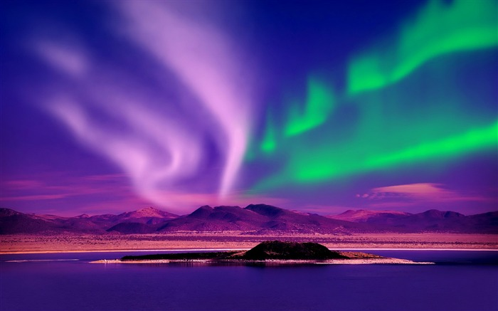 Beautiful colorful aurora night Photo HD Wallpaper Views:378
