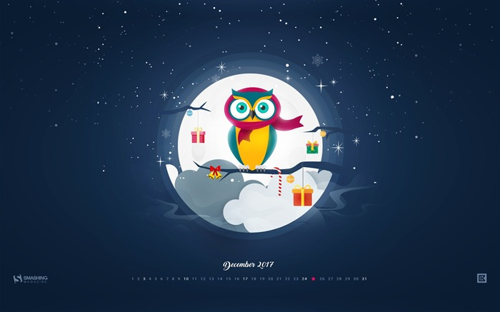 Christmas Owl December 2017 Calendar Wallpaper Views:432