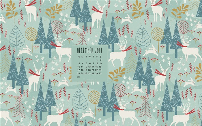 Christmas Woodland December 2017 Calendar Wallpaper Views:882