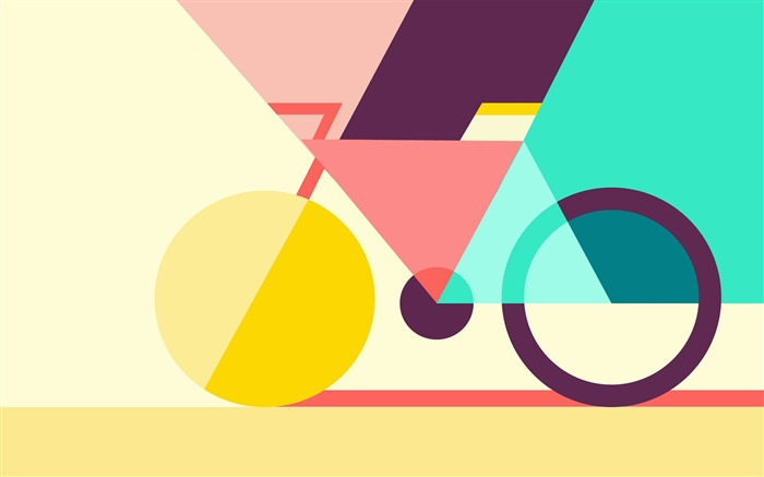 Color geometric abstract bicycle Vector HD Wallpaper Views:585