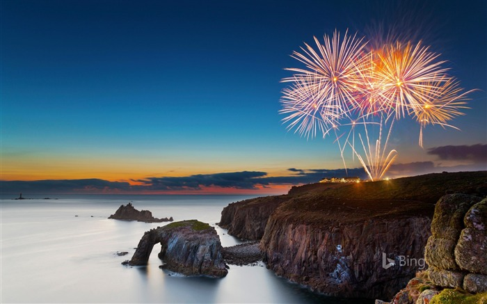Cornwall Fireworks at Lands End 2017 Bing Wallpaper Views:1264