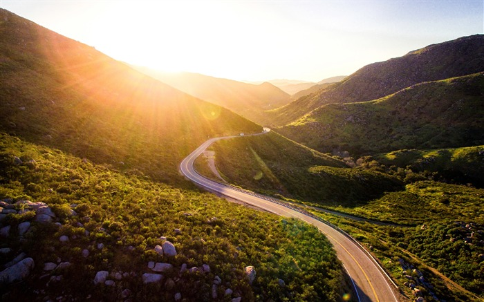 Early morning sunshine mountain road Scenery HD Wallpaper Views:939