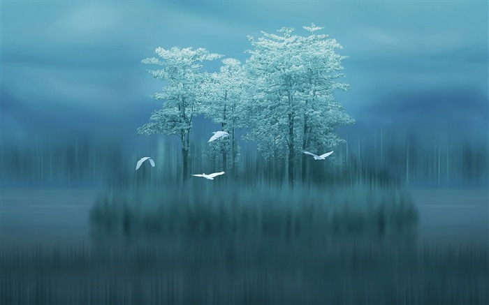 Lake trees birds blurred 2017 HD Wallpaper Views:206